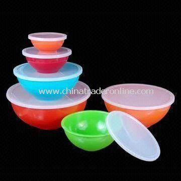 6-piece Serving Bowl Set with PE Lid Set, Made of Melamine, Available in Assorted Colors