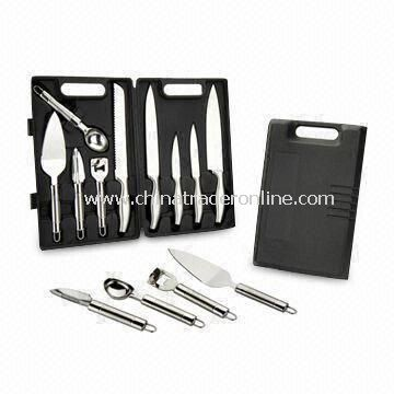 9-piece S/S Hollow Handle Kitchen Knife Box Set with Serving Tools