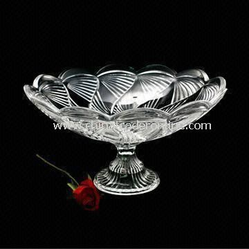 Crystal Glass Plate or Candy Dish, Made by Machine Press