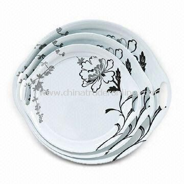 Plate/Dish Set, Made of Melamine, Customized Colors, Designs, and Sizes are Accepted