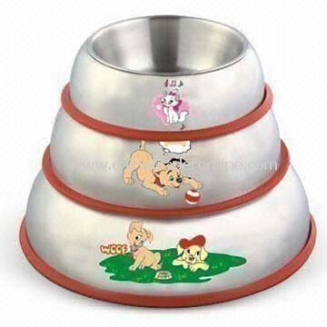 Steel Pet Bowls in Various Colors and Logos Printings, Customized Designs are Accepted