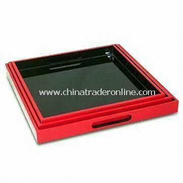 Three-piece Lacquer Tray Set in Red/Black, Made of MDF