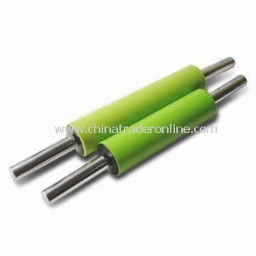 Silicone Rolling Pin with Stainless Steel Handle and PP Covers, Various Colors are Available