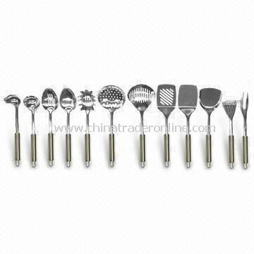 Stainless Steel Kitchen Tool Set, Includes Whisk, Pasta Fork, Tong, and Solid Turner