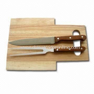 3-piece Kitchen Knife Set with Wooden Cutting Board