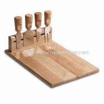 4pcs Cheese Knives Set in Wooden Chopping Board, with 30 x 20cm Board Size