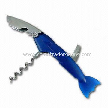 Fish-shaped Can Opener with Knife, Made of Stainless Steel, Available in Various Colors