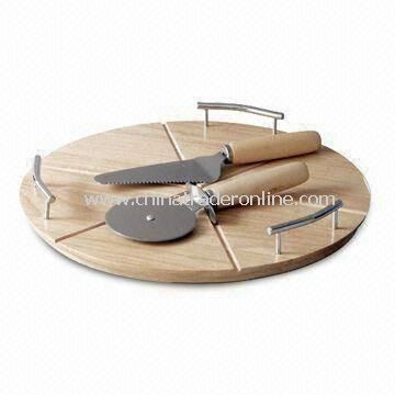 Pizza Set with Wooden Cutting Board, Customized Sizes and Thicknesses are Accepted from China