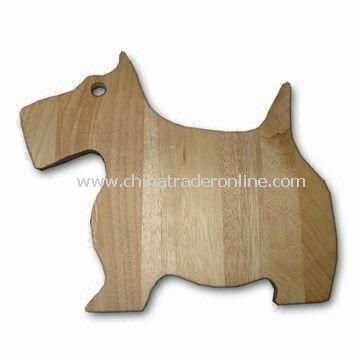 Puppy-shaped Rubber Wood Cutting Board with 1.5cm Thickness, Available in Various Sizes and Designs