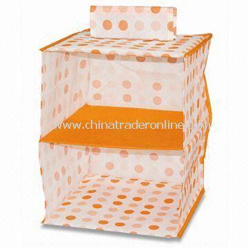 Storage Box/Closet Organizer, Made of Tangerine Circle Dye Printing Adhesive-bonded/Non-woven Cloth