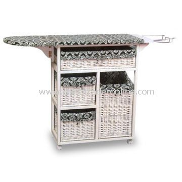 Storage Case/Box with Ironing Board, Made of Cany and Natural Rattan