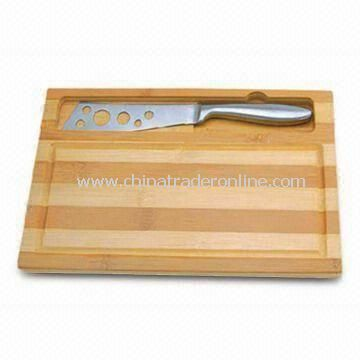 Two-piece Cheese Knife Set with Rubber Wood Cutting Board and 18/0 S/S Handle