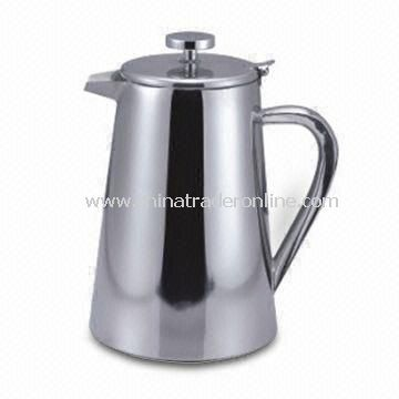 Glossy Stainless Steel Pitcher with Tea Strainer, 1/0.8L Size and Mirror finishing