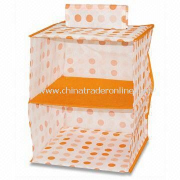 Storage Box/Closet Organizer, Made of Tangerine Circle Dye Printing Adhesive-bonded/Non-woven Cloth