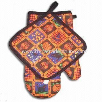 100% Cotton Fabric Oven Mitten and Pot Holder, Soft in Texture
