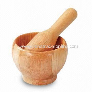 Eco-friendly Rubber Wood Motars and Pestles, with Natural Color Varnished, Competitive Price from China