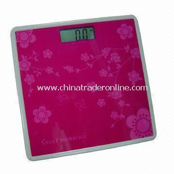 Electronic Bathroom Scale with High Precision Strain Gauge Sensor System, Measures 26 x 25.5 x 4cm