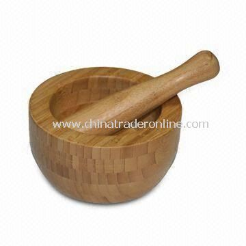 Bamboo Mortar and Pestle Set, Different Sizes are Available