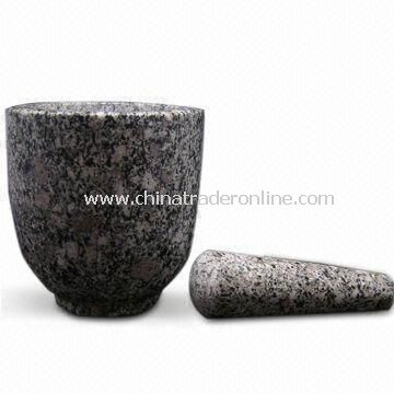 Granite Mortar with Stick, Ideal for Housewares