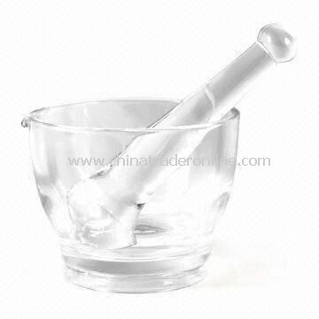 Laboratory Mortar with Glass Pestle, OEM Orders are Welcome