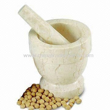 Mortar and Pestle, Customized Specifications are Welcome, Made of Champagne Marble
