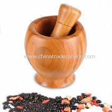Mortar and Pestle, Made of Bamboo, Suitable for Grinding Spices