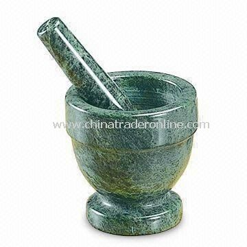 Mortar and Pestle, Made of Green Murble, Customized Specifications are Welcome