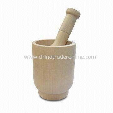 Mortar and Pestle, Made of Lotus Wood, Different Designs are Available