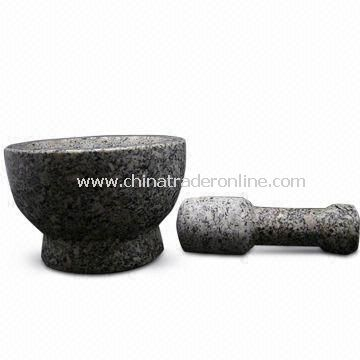 Mortar with Stick, Made of Granite, Ideal for Housewares