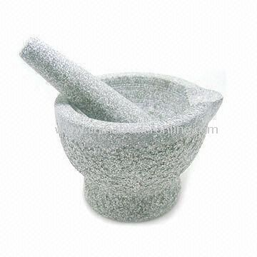 Mortar with Stick, Made of Granite, Measuring 14.3 x 11.2 x 10.5cm