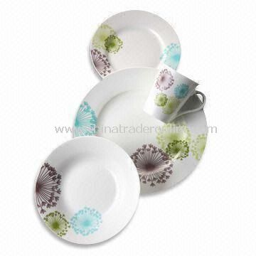 16/18/19/30 Pieces Porcelain Dinner Set, Round Shaped Plates with Decal, Microwave Safe