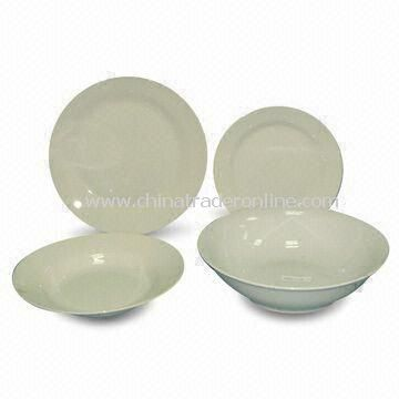 19-piece Porcelain Dinner Set without Decal, Measures 20cm