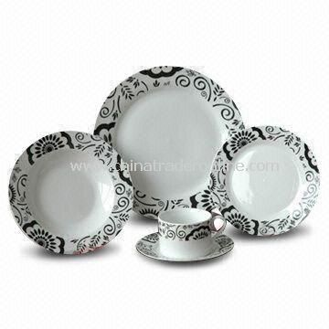 30 Pieces Dinner Set with Decal, Made of Porcelain, Available in Various Sizes