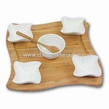 Ceramic Dinnerware Set, Includes 4 Dishes, 1 Bowl and 1 Spoon, with Natural Color