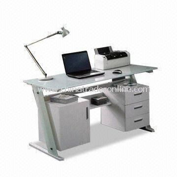 Computer Desk with Tempered Glass and Cabinet, Suitable for Office, Customized Colors Accepted
