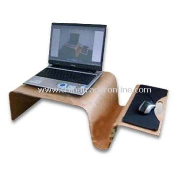 Computer Table in Corporate Design with Mouse Tray and Notebooks, Measures 74 x 38 x 22cm