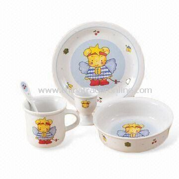 Dinnerware Set, Made of Porcelain, Includes Bowl, Cup and Spoon