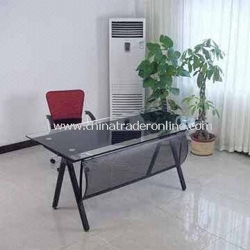 Glass Office Desk with Steel Front Panel and Tube, Easy to Assemble