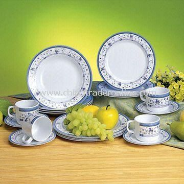 Melamine Dinner Set, Pure White Color and Customized Designs, Sizes and Shapes Available