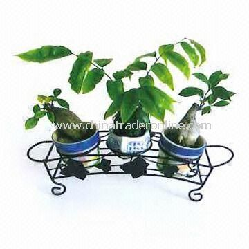 Metal Plant Rack Holds Three Flower Pots with Powder Coating