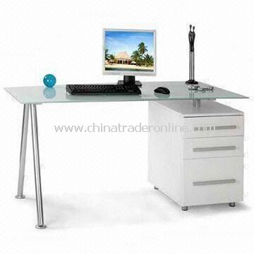 Office Desk with Cabinet, 8mm Tempered Glass, Measures 1,500 x 800 x 730mm from China