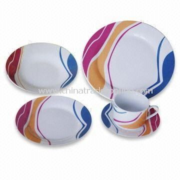 Porcelain Tableware/Dinnerware with Color Glazed, Decal and Hand-painted Designs