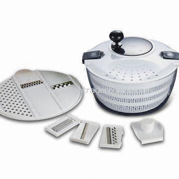 Salad Spinner, Made of PP, HIPS and PS, Measures Ø24.2 x 16.3cm