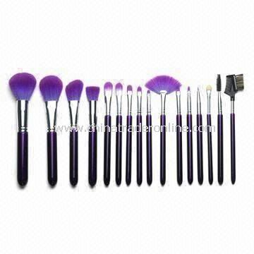 16-piece Synthetic Hair Cosmetic Brush Set, Available in Assorted Colors from China