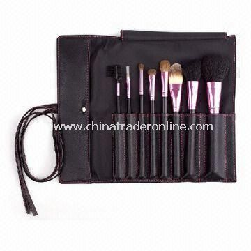 Professional Travel Makeup Brushes in Leather Bag with Goat/Horse Hair, Various Colors Available
