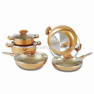 10-piece Aluminum Non-stick Cookware Set with Fashionable Handle and Knob, OEM Orders are Welcome