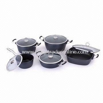 10 Pieces Non-stick Cookware Set, Made of Die-cast Aluminum, Available in Various Sizes