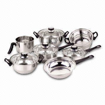 11-piece Stainless Steel Cookware Set, Includes Milkpot, Steamer, Saucepan, Casserole and Frypan