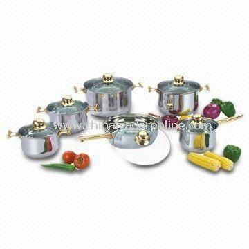 12-Piece Cookware Set with Gold-plated Handle and Glass Lid, Made of Stainless Steel