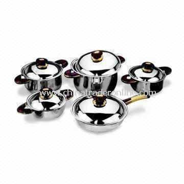 12pcs Stainless Steel Cookware Set, Includes 24 x 6cm Frying Pan and 16 x 7.5cm Saucepan from China